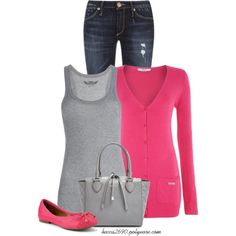 """Casual Pink & Gray"" by becca2690 on Polyvore"