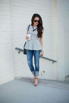 striped peplum 4 Flattering Outfits to Hide Tummy