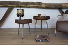 Bijzettafel Caluma is gemaakt van hout en heeft nikkel pootjes wat het design zo uniek maakt. De bijzettafels zijn afkomstig van het merk Light & Living.
