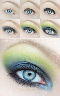 ysl fall 2013 inspired - HOW TO #eyes #eyemakeup #eyeshadow #mascara  - bellashoot.com #eyeliner #howto #tutorial #stepbystep  #green #blue