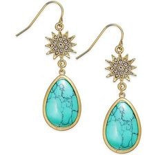 Ralph Lauren Gold-Tone Crystal Star and Turquoise Stone Drop Earrings