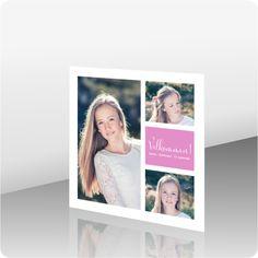 Invitasjon konfirmasjon, 200691 - 2 sider, 145 x 145 mm - kortshop. Birthday Invitations, Birthday Cards, Polaroid Film, Monogram, Inspiration, Fest, Scrapbooking, Weddings, Crafting