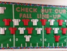 fall bulletin boards Looking for bulletin board ideas for back to school? Look no further, I have 15 terrific bulletin boards for you to see! The bright colors on this design are awesome against the black backgroun Football Bulletin Boards, Library Bulletin Boards, Back To School Bulletin Boards, Preschool Bulletin Boards, Infant Bulletin Board, Kindergarten Bulletin Boards, Bullentin Boards, September Bulletin Boards, Sports Theme Classroom
