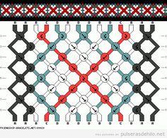 Esquema pulsera de hilos con estampado cruces
