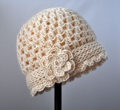 Free Crochet Cloche Hat Pattern Crochet Vintage Flowered Cloche Pattern Classy Crochet Free Crochet Cloche Hat Pattern Colorscape Cloche Hat Free Crochet Pattern All Easy Pattern. Diy Tricot Crochet, Bonnet Crochet, Crochet Baby Hats, Crochet Beanie, Knit Or Crochet, Crochet Scarves, Crochet Crafts, Crochet Clothes, Crochet Projects