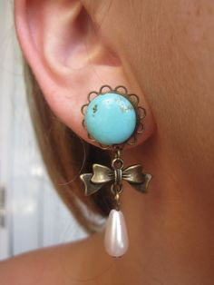 """Turquoise Plugs with Bow Charms and Pearl Bead Danglies - Girly Gauges - 6g, 4g, 2g, 0g, 00g, 7/16"""", 1/2"""", 9/16"""", 5/8"""", 3/4"""". $25.00, via Etsy."""