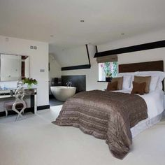 images of open bedroom into the bathroom | Open-plan modern bedroom | Bedroom ideas | Image | Housetohome.co.uk