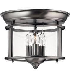 Hinkley 3473PW Gentry 3 Light 12 inch Pewter Foyer Flush Mount Ceiling Light in Clear Rounded Panels #LightingNewYork