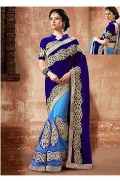 Designer Wear Blue & Firozi Color Saree