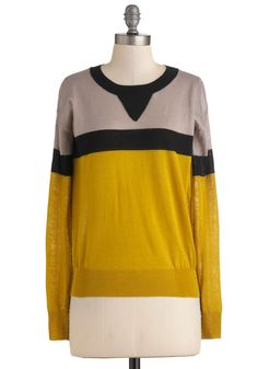 Zest of Both Worlds Sweater - Mid-length, Yellow, Tan / Cream, Black, Casual, Long Sleeve, Menswear Inspired, Fall