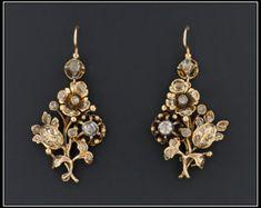Antiguos pendientes de diamante | 14k oro pendientes victorianos | Pendientes flor de diamante | Pendientes diamante victoriana | Finos aretes de novia |