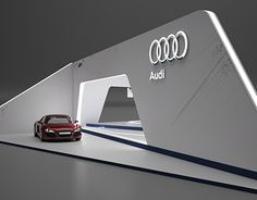 Stand VW / Audi / Porsche on Behance Exhibition Stall, Exhibition Booth Design, Exhibit Design, Stand Feria, House Roof Design, Cadillac, Hotel Floor Plan, Trade Show Design, 3ds Max