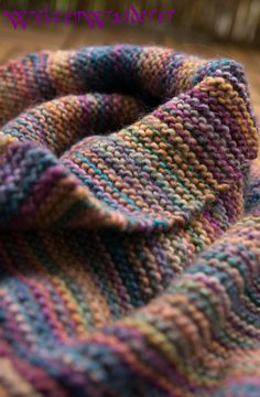 Knitted loop, handspun single yarn, dyed with Ashford colours