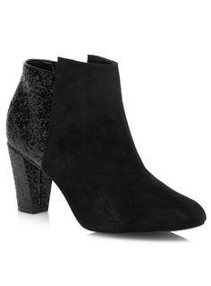Evans Black Glitter Mix Ankle Boots - Shoes