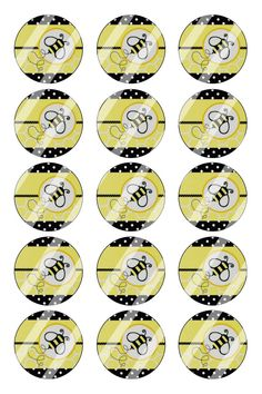 "Bee Bottle Cap 1"" Circle Images Sheet #B2 (instant download or pre cut)"