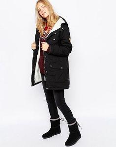 Fjallraven Hooded Parka Coat With Borg Lining | ASOS Hooded Parka, Parka Coat, Must Haves, Hoods, Winter Jackets, Shopping, Black, Google, Fashion