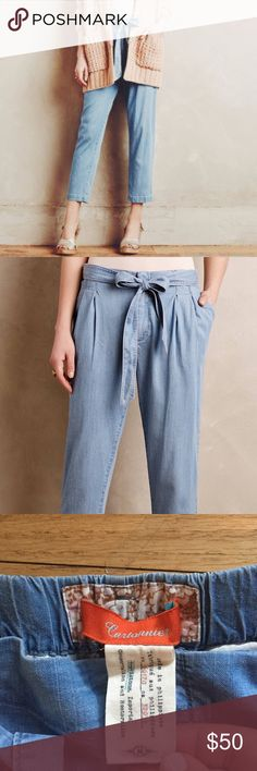 Never worn Anthropologie pant. Light chambray. Med Super cute, just not for me. Never worn. Size medium. Anthropologie Pants