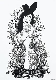 SEXY LADY body tattoo black and white by almasjewelryart on Etsy