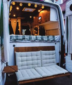 Couple S Van Life With A Tailgate Loveseat On Their Diy Vw Crafter Conversion Couple S Van Life With&; Couple S Van Life With A Tailgate Loveseat On Their Diy Vw Crafter Conversion Couple S Van Life With&; Cargo Van Conversion, Van Conversion Interior, Camper Van Conversion Diy, Sprinter Camper Conversion, Vw Camper Conversions, Petit Camping Car, Trailers Camping, Camping Hacks, Travel Trailers