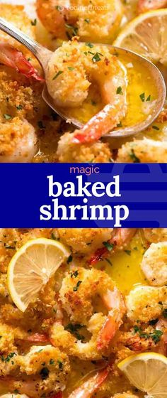 Shrimp/prawns baked in an incredible lemon garlic butter white wine sauce, finished with a golden crunchy parmesan breadcrumb topping. Baked Shrimp Recipes, Fish Recipes, Seafood Recipes, Gourmet Recipes, Cooking Recipes, Healthy Recipes, Dinner Recipes, Ways To Cook Shrimp, Prawn Shrimp