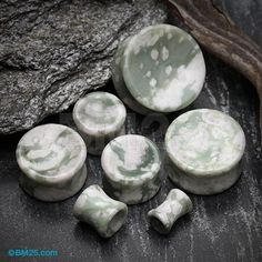 A Pair of Peace Jade Concave Stone Double Flared Plug