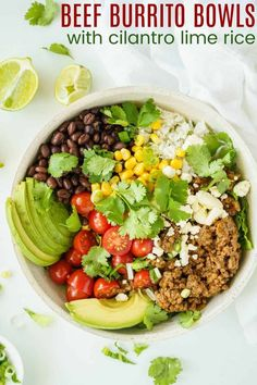 Beef Burrito Bowls - easy, healthy, and gluten free rice bowls filled with cilantro lime rice, Instant Pot taco meat, and your favorite toppings. Flexible and versatile options for a family-friendly meal kids and adults love. Or use your Taco Tuesday leftovers to make lunch for the next day!