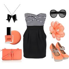 I would totally NOT wear this dress....but I love the accessories.  Mostly, the shoes!