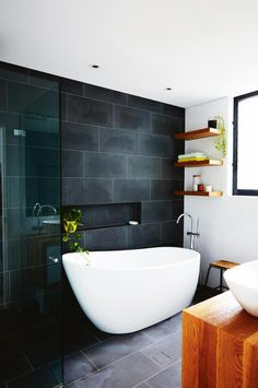 Layout, clever tiling and smart selections will help you maximise a small bathroom design in your bathroom renovation. Toilet For Small Bathroom, White Bathroom Decor, Bathroom Renos, Laundry In Bathroom, Modern Bathroom, Master Bathroom, Bathroom Black, Bathroom Ideas, Bathroom Feature Wall Tile