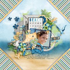 Beach layout by Julie/Mother Bear using Orange Cream and Cabanas Kit