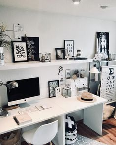 Home Office - - Guest Room Office, Home Office Space, Home Office Design, Home Office Decor, Home Decor, Small Room Bedroom, Diy Bedroom Decor, Study Table Designs, Study Room Decor