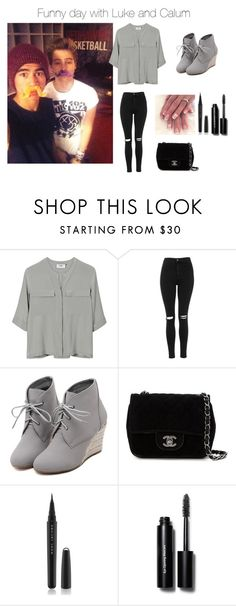 """""""Funny day with Luke and Calum"""" by fiza-1 ❤ liked on Polyvore featuring PYRUS, Topshop, WithChic, Chanel, Marc Jacobs, Bobbi Brown Cosmetics, women's clothing, women, female and woman"""