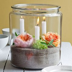 Easy Easter Centerpieces and Table Settings from Better Homes & Gardens Easter Table Settings, Easter Table Decorations, Easter Centerpiece, Easter Decor, Easter Dinner, Easter Party, Candle Centerpieces, Candles, Chandeliers