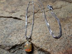 Ethiopian Opal Necklace, Welo Opal Necklace, Fine Jewelry, Oval Necklace, Sterling Silver Necklace
