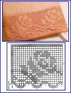 filet crochet lace e Filet Crochet, Crochet Blanket Edging, Crochet Lace Edging, Crochet Motifs, Crochet Diagram, Crochet Chart, Thread Crochet, Crochet Doilies, Crochet Patterns
