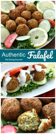 With an irresistibly delicious flavor and texture, these authentic falafel are not only delicious and filling, they're wholesome and nutritious! (Naturally vegetarian, vegan and gluten free. Vegetarian Recipes, Cooking Recipes, Healthy Recipes, Healthy Snacks, Homemade Tahini, Middle Eastern Recipes, Mets, Mediterranean Recipes, Carne