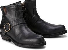 Rockig, lässig, exklusiv - Fiorentini + Baker! Die internationale Mode-Szene ist verrückt nach diesen charaktervollen Biker-Boots. Hier aus schwarzem Vintage-Leder.