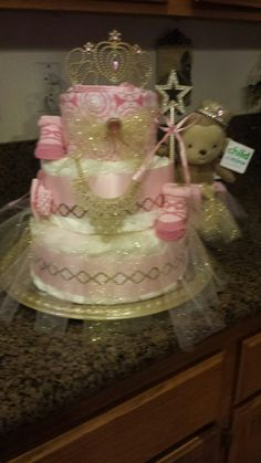 Princess Gold & Pink diaper cake