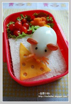Add a sandwich, boiled egg, some cheese, and voila! Mouse-themed bento lunch!