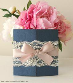 Navy & Pink Elegant Lace Wedding Invitation by BStudioInvitations