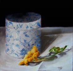 """Nasturtium and jar"" - Original Fine Art for Sale - © Penny German"