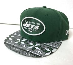 f3b4caba014 s m adjustable NEW YORK JETS STRAPBACK HAT Green Geometric Gray Pattern  Brim Men