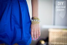 Pearl Bead & Gold Chain DIY Bracelet on HIGHonDIY.com  #diy #highondiy #diyfashion #diyjewelry #accessories
