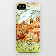 Foxes III iPhone & iPod Case by Alice Macarova - $35.00 beautiful, creative red foxes all snuggled up