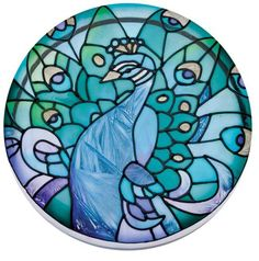 Peacock Hand Painted Art Glass Paperweight Coaster