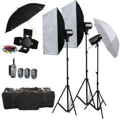3X Godox E250 750W Studio Flash Strobe Lighting Stand  Softbox Trigger Kit 220V
