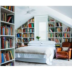 21 Trendy Ideas Home Library Bedroom Bookshelves Dream Bedroom, Home Bedroom, Attic Bedrooms, Bedroom Decor, Bedroom Shelves, Upstairs Bedroom, Attic Bathroom, Bedroom Wall, Bedroom Furniture