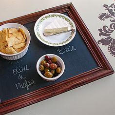 Upcycle: Old frame into chalkboard serving tray!