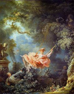 Characterized by airy, ornamental scenes of mythology and fellowship, Rococo painting emerged in the early century in response to Baroque art. Romantic Paintings, Great Paintings, Art And Illustration, Fragonard Paintings, Rococo Painting, Swing Painting, Jean Honore Fragonard, French Rococo, Rococo Style