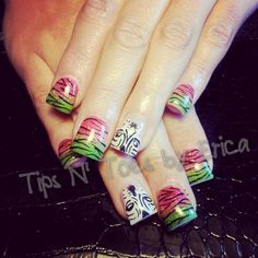 Summer zebra gel nails  Facebook.com/TipsNToesbyErica