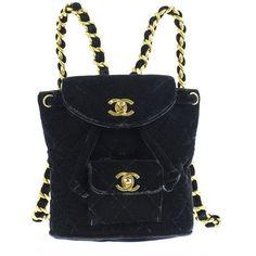 Chanel Vintage Velvet Mini Backpack ($500) ❤ liked on Polyvore featuring bags, backpacks, backpack, velvet bag, chanel, mini rucksack, miniature backpack and chanel rucksack